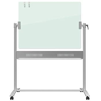 Quartet Easel Magnetic Glass Whiteboard 4  x 3  Reversible Portable Flip Chart Holder Infinity  ECM43G  Silver
