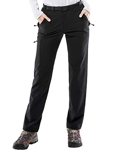 MIER Women's Stretch Cargo Hiking Pants Lightweight Tactical Pants with YKK Zipper Pockets, Black, XL