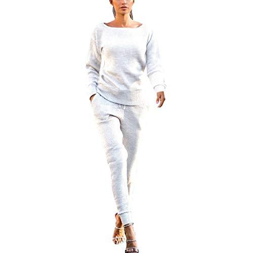 ➤Refill➤Damen Strick 2 Stück Langarm Top + Drawstring Pants Hosen Beiläufig Outfit Sport Bekleidung Mode 2 Stück Set Outfits