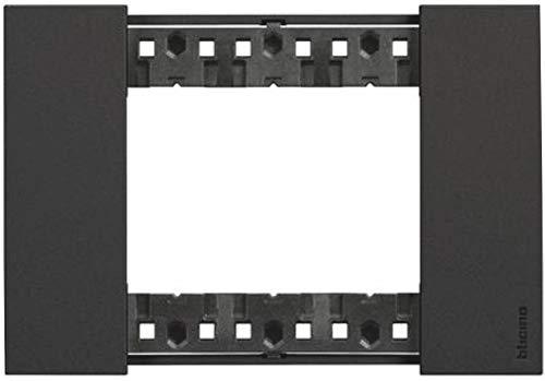 Bticino KA4803KG Living Now - Placca 3 Moduli, Nera, 135 x 50 x 10 cm