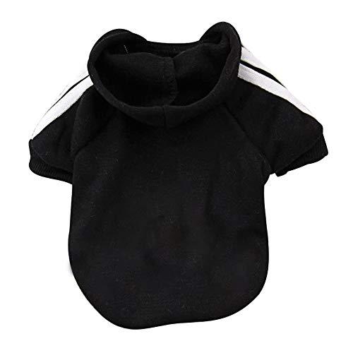 Eastlion Adidog Hund Pullover Welpen-T-Shirt Warm Pullover Mantel Pet Kleidung Bekleidung, Schwarz, Gr. S
