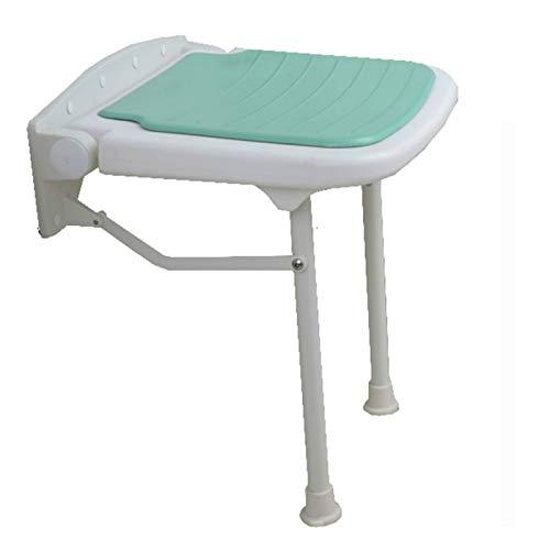 QFWM Taburete de baño y ducha montado en la pared, taburete plegable para baño para personas mayores (tamaño: 38 x 35 x 48 cm), color verde