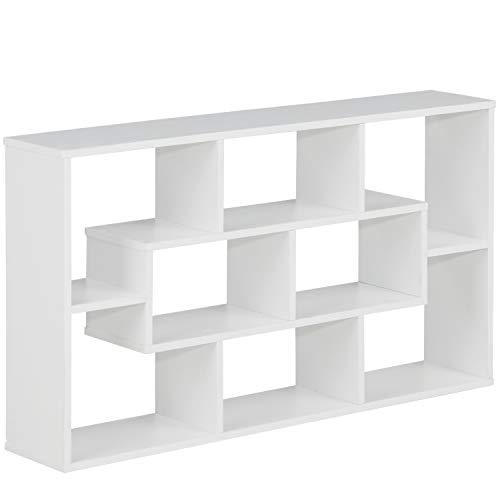 MSmask Wandregal Hängeregal Schweberegale Bücher Regal mit 8 Böden Hölzernes Steh-Bücherregal Küchenregal für Schlafzimmer Wohnzimmer Kinderzimmer Büro (Weiß)