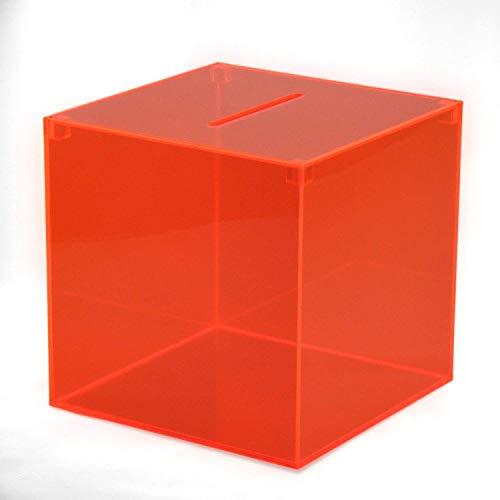 Hansen Losbox rot mit leuchtenden Kanten/Einwurfbox / Sammelbox/Aktionsbox aus Acryl