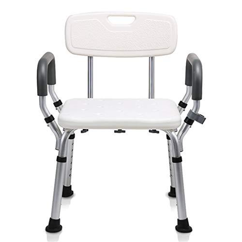 Silla de ducha Taburete para asiento de ducha para ancianos / discapacitados Alfombrilla antideslizante Taburete para asiento de ducha Ajustable en altura con respaldo Asiento de baño en blanco Max.