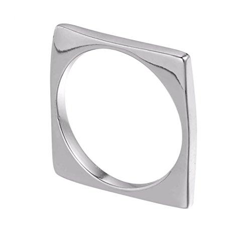iszie Anillo de plata de ley con diseño de barra cuadrada geométrica moderna