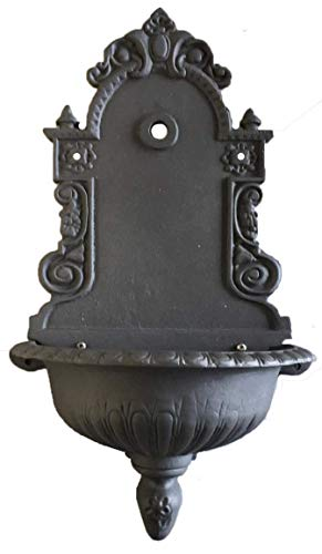 LUNAWAY Fuente de hierro fundido para pared de jardín con grifo 46 x 26 x 80.5 h