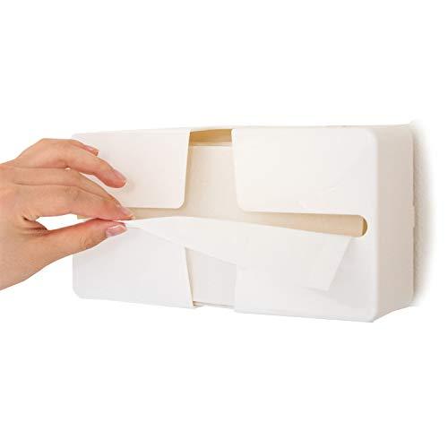 ルックス 取り出しやすいペーパータオルケースピック ホワイト 縦 130mm×横 247mm×高さ 78mm (壁付け用マジックテープ付き)