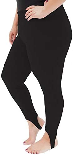 Women s High Waist Stirrup Leggings Black 3X product image