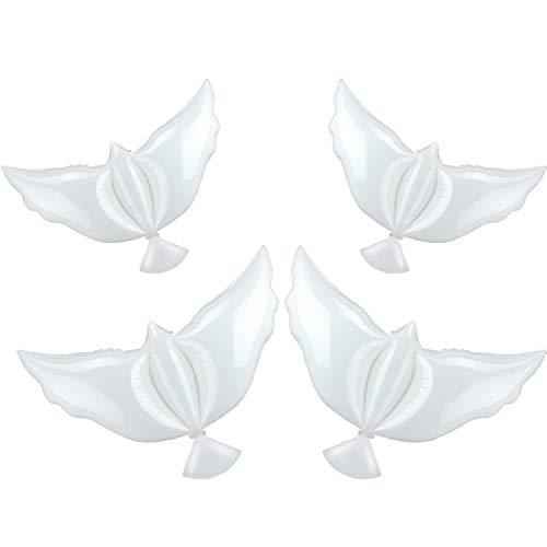 MZZYP 4 Piezas Paz Globos Globos Blanco Memorial Globos Pigeon Pájaro Globos Ceremonias Decoraciones de Fiesta para la Boda Funeral Cumpleaños Compromiso Fiesta de Compromiso Suministros