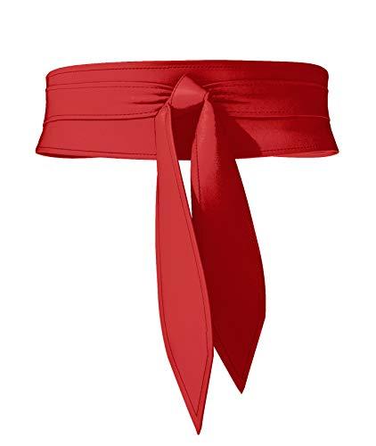 Viannchi Cinturón de mujer Fajín ancho Reversible dos tonos Ecopiel y Ante PU, talla única ajustable. Dos cinturones en uno. Cinturón Obi Cuero Artificial (Rojo)