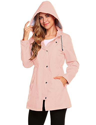 Romanstii Damen-Regenjacke, wasserdicht, leicht, elegant, atmungsaktiv, langärmlig, dünn, mit Kapuze Gr. Small, Rosa