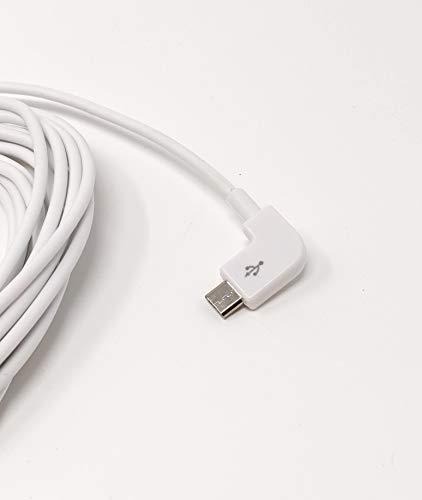 System-S Micro USB Kabel rechts gewinkelt zu USB 2.0 Typ A (Male) Datenkabel ca 5 m in Weiß