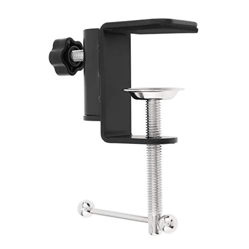 RTNLIT Universal C Shape Table Mount Clamp for Microphone Suspension Boom Scissor Arm Stand Holder with Adjustable Positioning Screw, Fits up to 1.77'/4.5cm Desktop Thickness-Black