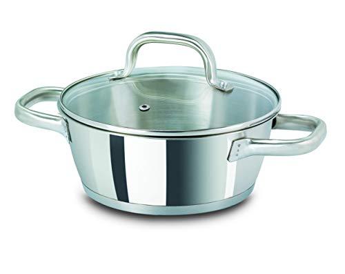 Vitrinor Bon Chef - Cacerola acero inoxidable 20cm. Herrajes ergonómicos acero inoxidable aptos para horno. Cazuela válida para todo tipo de cocinas, incluida inducción, válida para lavavajillas.
