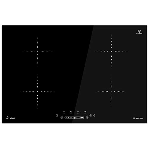 KKT KOLBE Plaque de cuisson à induction 77cm / Autarkic / 6kW / 9 marches / 4 zones/sans cadre/touches sensitives TouchSelect/contrôle par curseur/booster/affichage LED / IND8000RL
