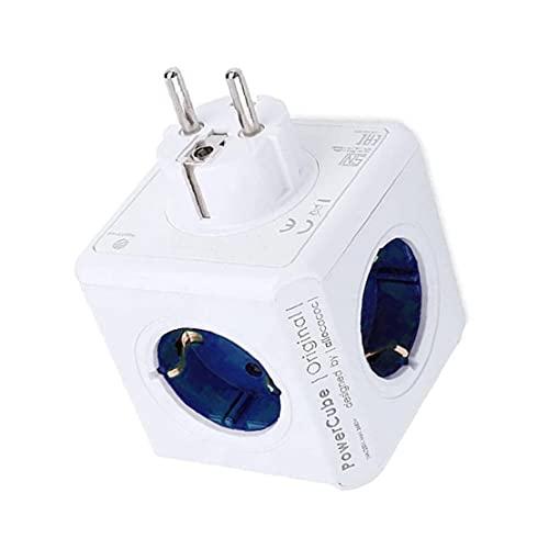 Tuimiyisou Power Strip Cubo Multi Socket Adaptador del Recorrido de extensión de 4 sockets 2 Puertos USB para la Tabla del hogar Oficina Azul exquisitamente Hecho