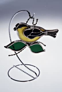 Goldfinch Stained Glass Suncatcher - NOT 25% OFF Stand Finish Silver In Japan's largest assortment