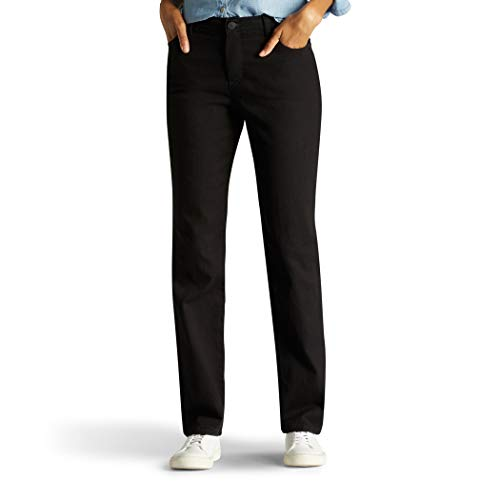 Lee Women's Missy Classic Fit Monroe Straight-Leg Jean, Black, 16 Short