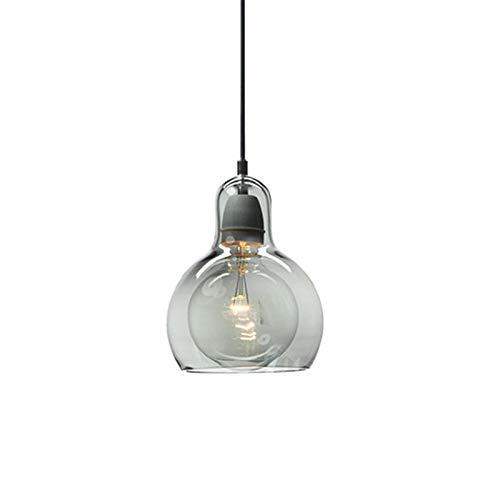 LFsem Lámpara de Techo Colgante Moderna y Simple Lámpara de Colgantes de Cristal Dormitorio Comedor Lámpara de oficina Colgantes de luz E27 Loft (Gris 11cm)