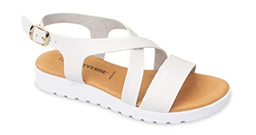 Valleverde Sandalo Donna Pelle 24101 Bianco Una Calzatura Comoda Adatta per Tutte Le Occasioni. Primavera Estate 2020. EU 38