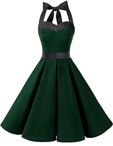 DRESSTELLS Cocktailkleid Damen Neckholder 1950er Vintage Retro Rockabilly Kleider Petticoat Faltenrock Festliche Kleider Dark Green M