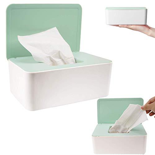 Feuchttücher-Box,Tissue Aufbewahrungskoffer,Hülle Feuchttücher Spender, Spenderhalter mit Deckel für Zuhause und Büro(Grün)