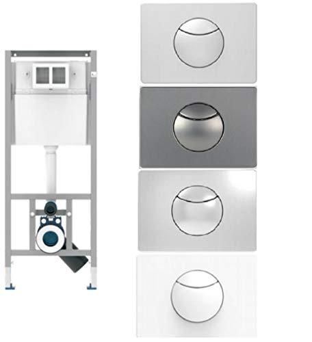 Sanit WC Vorwandelement Unterputzspülkasten Spülkasten Wand WC hängend 112cm Drückerplatte Stahl Chrom Weiss Matt (Stahl Chrom)
