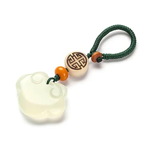 HYLR Llavero de Estilo Chino, Colgante, Material de Jade, Piedra de la Suerte, Hecho a Mano, decoración Keychains