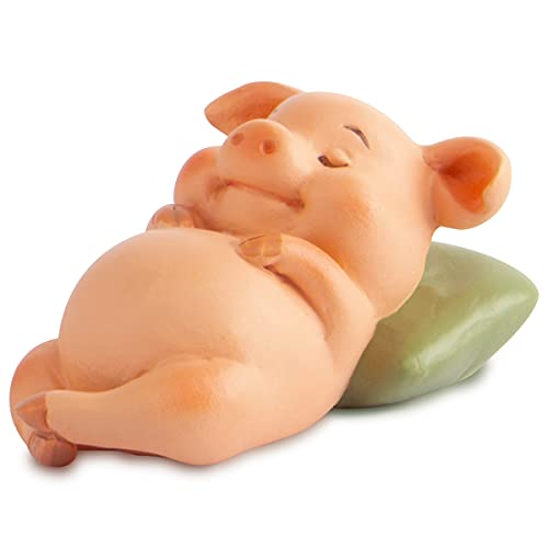 Resin Pig Statue Mini Piggy Figurine Lucky Animal Sculpture Model for Micro Landscape (Pigs in The Lunch Break)