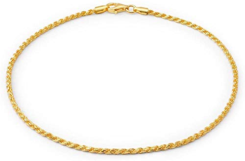 CHEMOXING Jewelry Simple Plain Rope Chain Anklet Charm Ankle Bracelet for Women 14K Gold Plated Silver