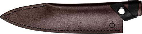 Forged Klingenschützer, Kochmesser von 20cm, Aus braunem Leder, Mit Druckknopfverschluss