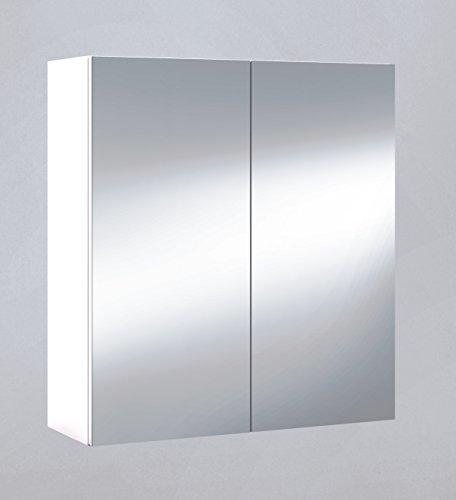 Armario con espejo, cuarto de baño o aseo, para colgar con 2 puertas y 2 baldas interiores color blanco brillo 60x65x21cm
