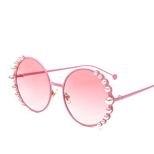 WOJING Gafas de sol redondas de perlas para mujer, elegantes, ovaladas, vintage, para hombres, redondas, retro, gafas de sol