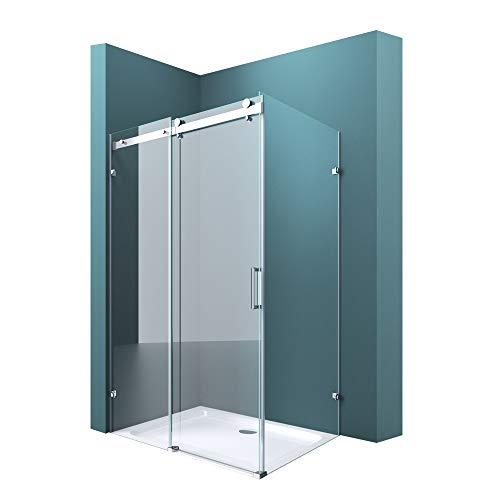 Duschabtrennung Duschkabine 90x120cm 8mm ESG Glas Schiebetür L-Form Halterung NANO Duschwand Ravenna17-2
