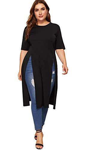 Romwe Women's Casual Plus Split Longline Short Sleeve Round Neck Tee Shirt Tunic #Black 4X