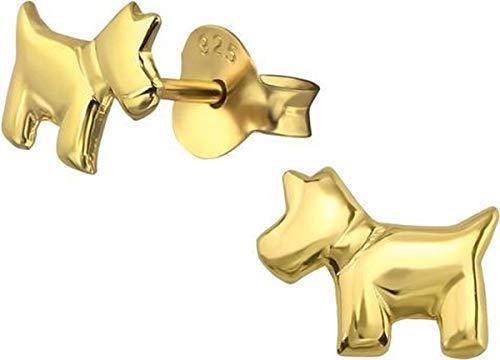 Montebello Pendientes de perro – Plata 925 chapada en oro – Perro – 8 x 6 mm
