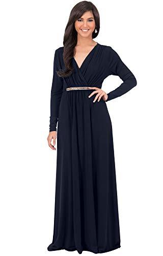 KOH KOH Womens Long Sleeve Sleeves Kaftan V-Neck Flowy Formal Wedding Guest Fall Winter Evening Day Empire Waist Abaya Muslim Gown Gowns Maxi Dress Dresses, Dark Navy Blue M 8-10