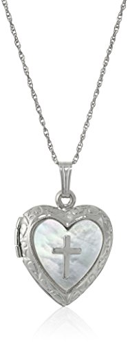 Amazon Collection Sterling Silver Heart and Mother-of-Pearl Heart and Cross Locket Necklace, 18''