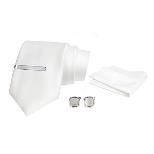 Axlon Mens Plaid Plain Silk Necktie Tie Gift Set With Pocket Square, Cufflinks, Brooch Pin & Clip
