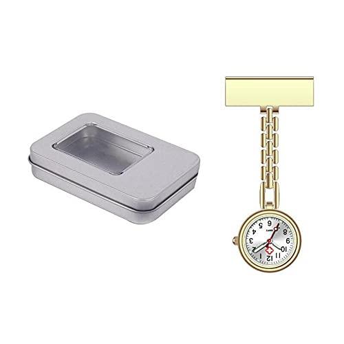 LLRR Reloj de Enfermera Fob,Mesa Colgante de Enfermera con luz Nocturna de Placa de Metal, Mesa de Metal en T para el Pecho del médico-Dorado e,Mujeres médico Enfermeras Reloj