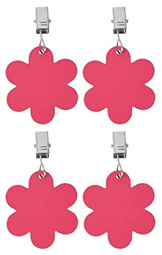 MIK Funshopping 4er Set Tischdeckenbeschwerer mit Klemmkraft - Tischdecken-Gewichte - Ideal für den gedeckten Tisch (Pinke Blumen)