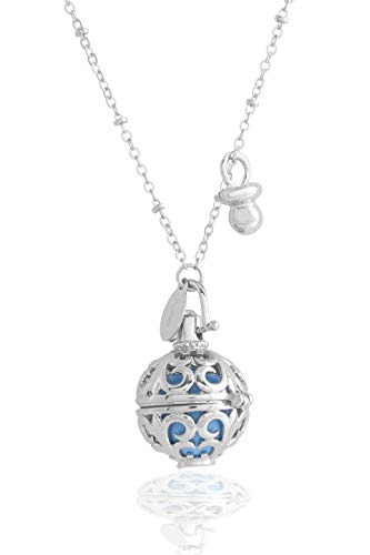 ANGELI MEXICAN BLE Rhodium plated openwork with xylophone interior colored blue silveris necklace cm.100 with Dummy Pendant