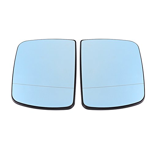Qiilu Car Anti Blind Left & Right Door Wing Rearview Mirror Glass Heated for BMW X5 E53 1998-2006