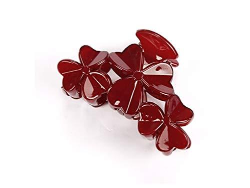 Belle pince à cheveux Pince à cheveux de mode trèfle outil de pain de cheveux accessoires de cheveux outil de coiffure pour les femmes (gris) (Couleur : Dark Red, Taille : 8.5x5cm)