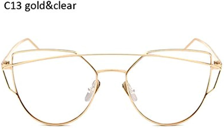 ZHANGYUSEN Fashion Fashion Fashion Female Rosa Gold Cat Eye Sunglasses damen Men Classic Twin-Beams Coating Mirror Sun Glasses Ladies B07DPHMLXM  Räumungsverkauf 0a2362