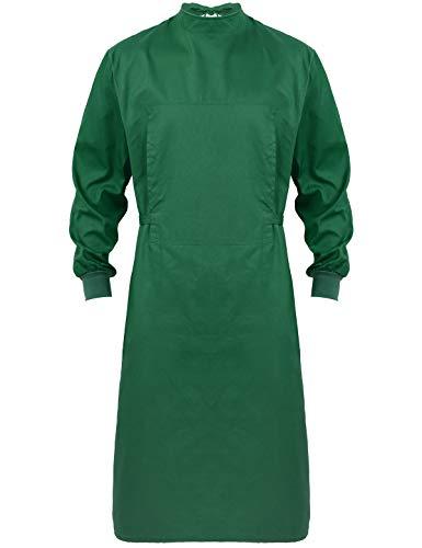 renvena Unisex Chirurgische Kleider Langarm Medizinische Baumwolle Kleidung Waschbare Isolation Kleider Schutz Krankenschwester Uniform Dunkelgrün XX-Large
