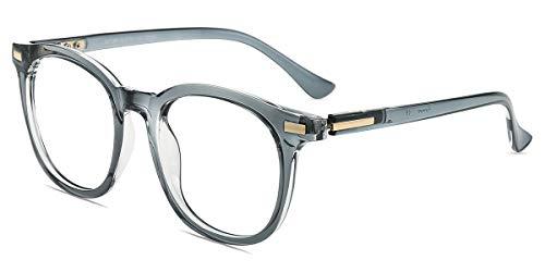 Firmoo Gafas Luz Azul para Mujer Hombre, Gafas Filtro Antifatiga Anti-luz Azul y contra UV400 Ordenador de Gafas Montura TR90 para Protección los Ojos, S8718 Transparentes Gris