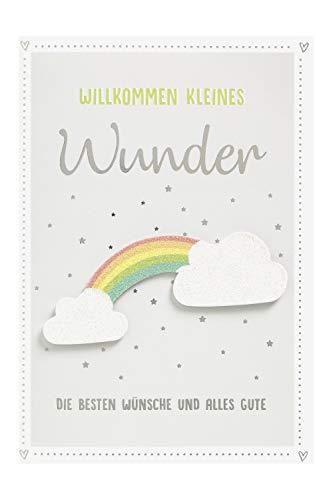 Perleberg Karte zur Geburt Willk. kleines Wunder Regenbog 11,6 x 16,6 cm, 7310035-2