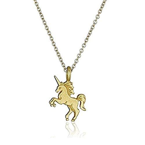 Trifycore La novedad del partido collar de cadena de aleación de unicornio colgante exquisito favorece animales collar para las mujeres y niñas de Oro